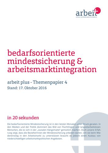 Titelseite des Themenpapiers Bedarfsorientierte Mindestsicherung & Arbeitsmarktintegration