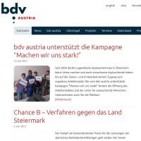 Ein Screenshot von der neuen Website des bdv austria.