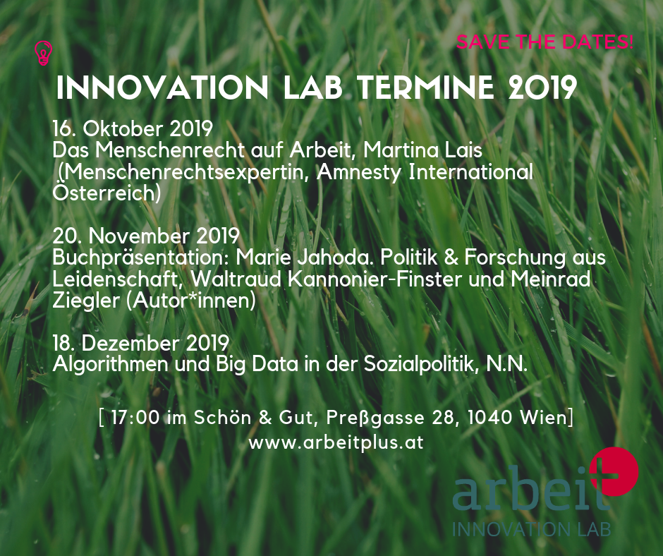 Termine Innovation Labs Herbst / Winter 2019